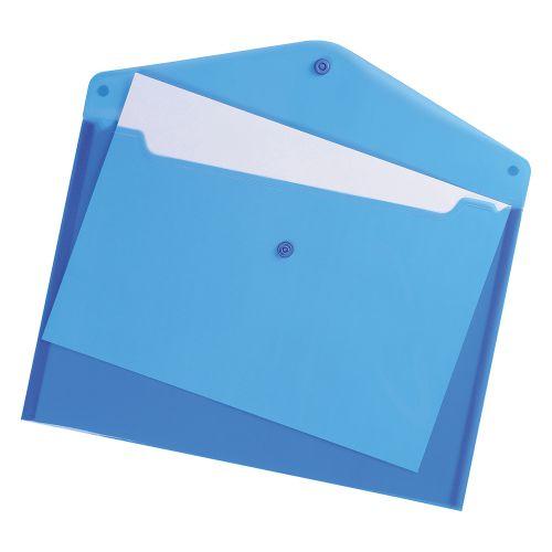 Business Envelope Stud Wallet Polypropylene A4 Translucent Blue [Pack 5]
