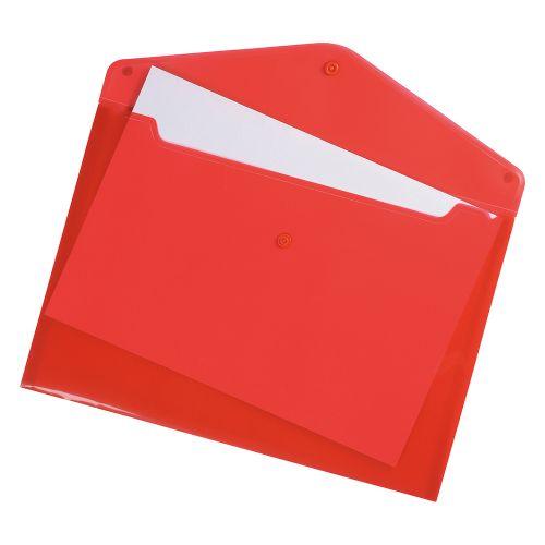 Business Envelope Stud Wallet Polypropylene A4 Translucent Red [Pack 5]