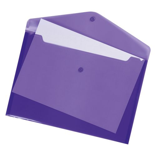 Business Envelope Stud Wallet Polypropylene A4 Translucent Assorted [Pack 25]