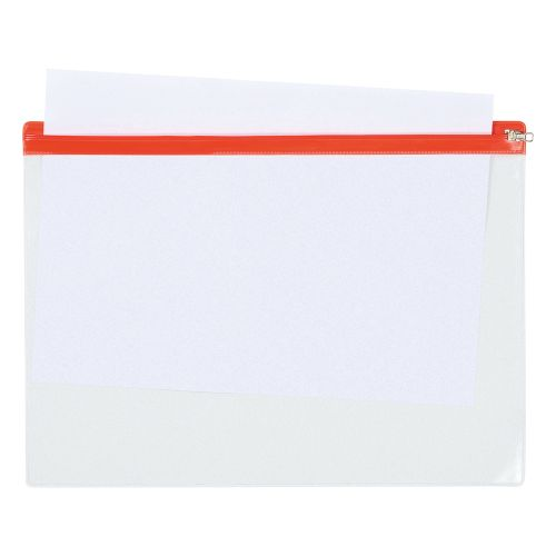 Business Zip Filing Bags PVC Clear Front with Coloured Seal A4 Assorted [Pack 30]