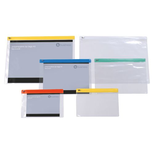 Business Zip Filing Bags PVC Clear Front with Coloured Seal A5 Assorted [Pack 30]