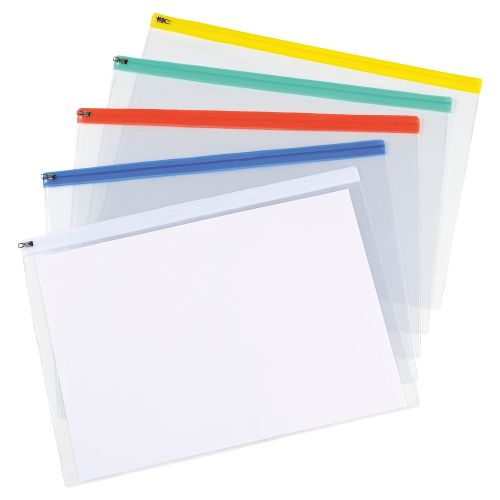 Business Zip Filing Bags PVC Clear Front with Coloured Seal A3 Assorted [Pack 5]