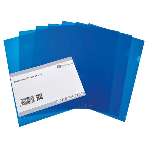 Business Folder Cut Flush Polypropylene Copy-safe Translucent 120 Micron A4 Blue [Pack 25]