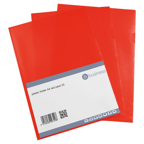 Business Folder Cut Flush Polypropylene Copy-safe Translucent 120 Micron A4 Red [Pack 25]