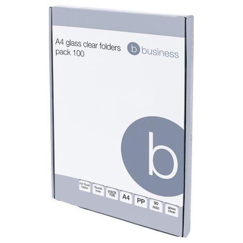 Business Folder Cut Flush Polypropylene 90 Micron A4 Clear [Pack 100]