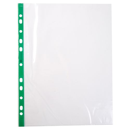Business Punched Pocket Polypropylene Green Strip Top-opening 50 Micron A4 Clear [Pack 100]