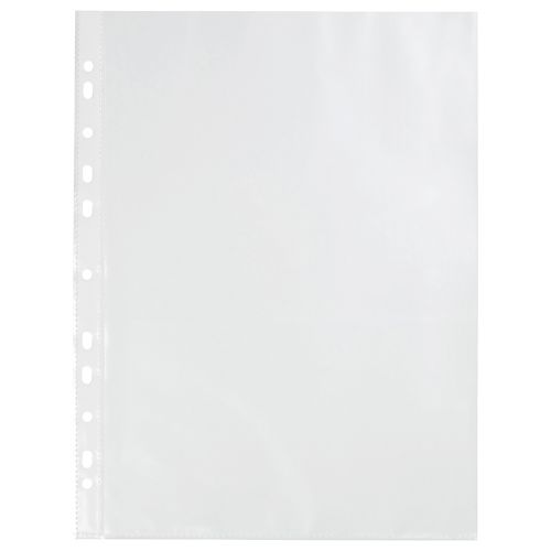 Business Punched Pocket Polypropylene Open Top and Side 40 Micron A4 Clear [Pack 100]
