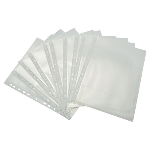 Business Premium Expanding Punched Pocket Polypropylene Top-opening Flap 200 Micron A4 Clear [Pack 10]