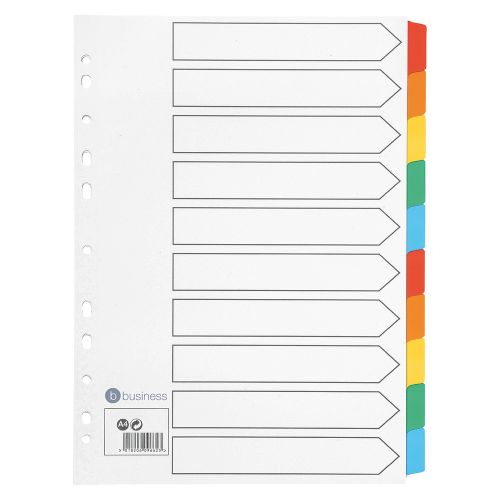 Business Index 150gsm Card with Coloured Mylar Tabs 10-Part A4 White