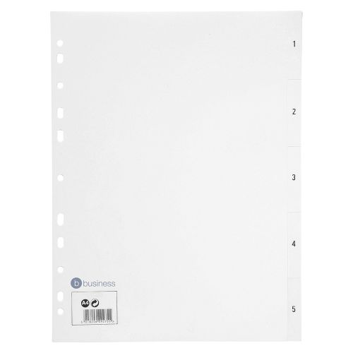 Business Index Multipunched 130 micron Polypropylene 1-5 A4 White