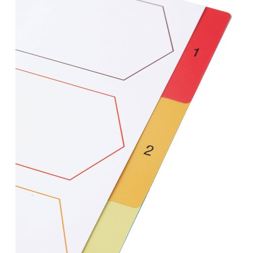 Business Premium File Index Multicoloured Tabs Polypropylene 1-5 A4 White