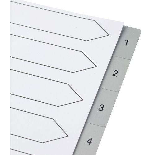 Business Premium File Index Grey Tabs Polypropylene 1-10 White