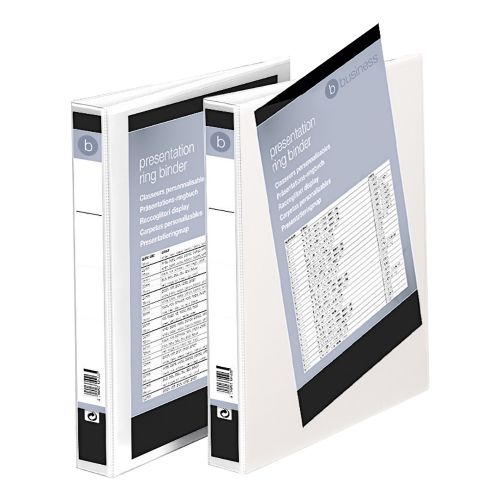 Business Presentation Ring Binder PVC 4 D-Ring 25mm Size A4 White [Pack 10]