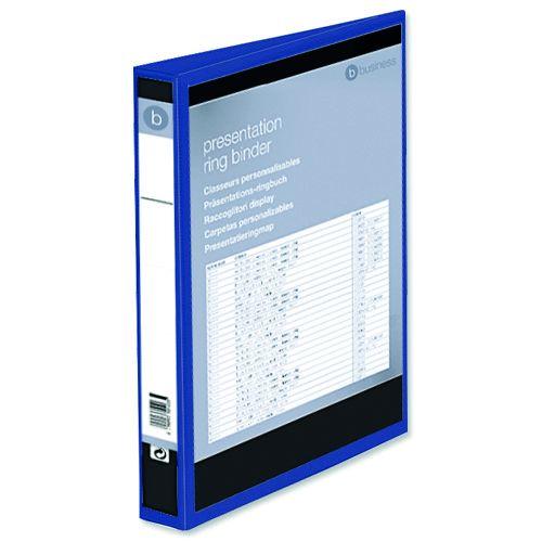Business Presentation Ring Binder PVC 4 D-Ring 25mm Size A4 Blue [Pack 10]