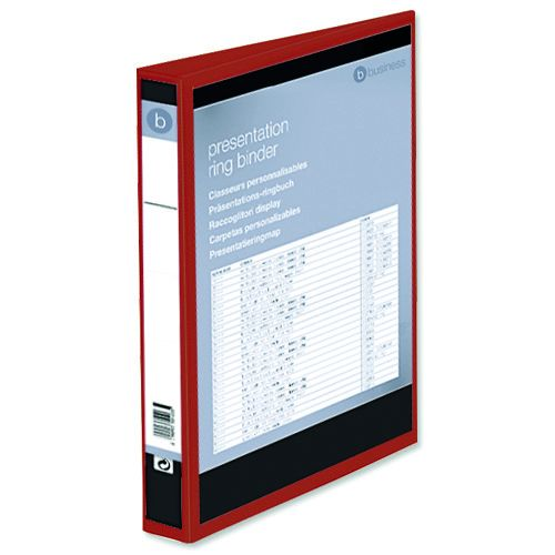 Business Presentation Ring Binder PVC 4 D-Ring 25mm Size A4 Red [Pack 10]