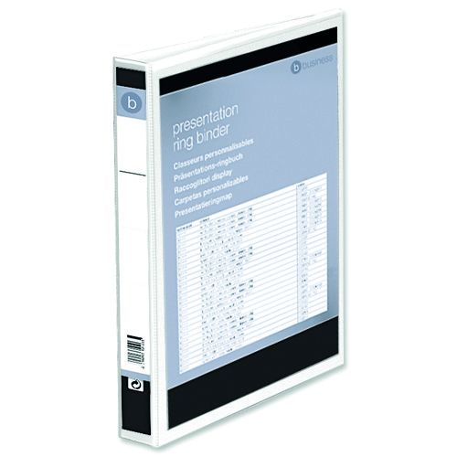 Business Presentation Ring Binder PVC 2 D-Ring 25mm Size A4 White [Pack 10]