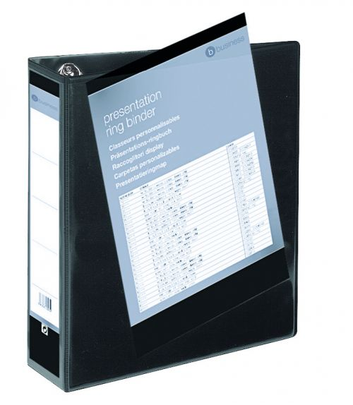 Business Presentation Ring Binder PVC 4 D-Ring 65mm Size A4 Black [Pack 10]