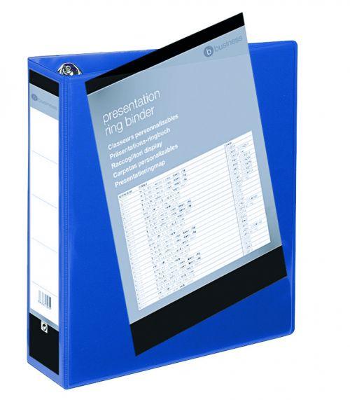 Business Presentation Ring Binder PVC 4 D-Ring 65mm Size A4 Blue [Pack 10]