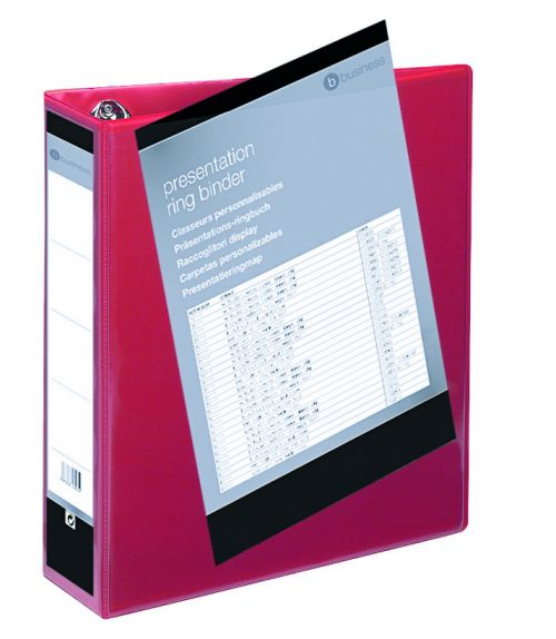 Business Presentation Ring Binder PVC 4 D-Ring 65mm Size A4 Red [Pack 10]