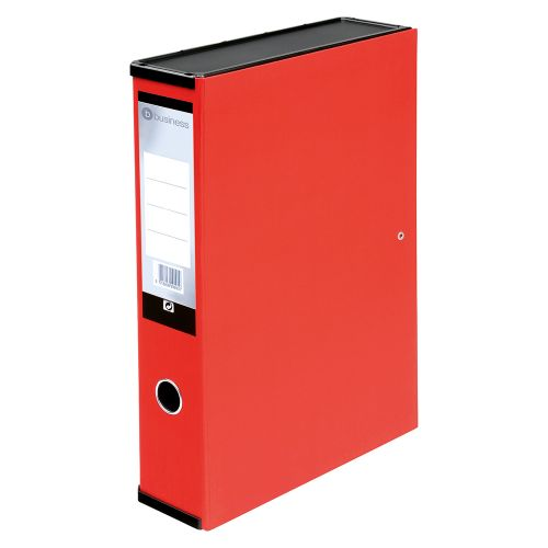 Business Box File Lock Spring with Push Button Closure 70mm Capacity Foolscap Red [Pack 5]