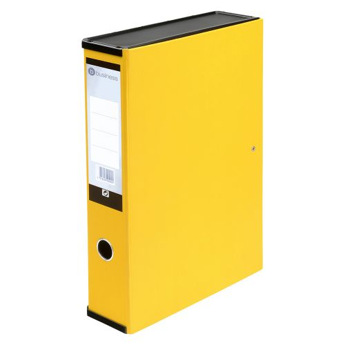 Business Box File Lock Spring with Push Button Closure 70mm Capacity Foolscap Yellow [Pack 5]