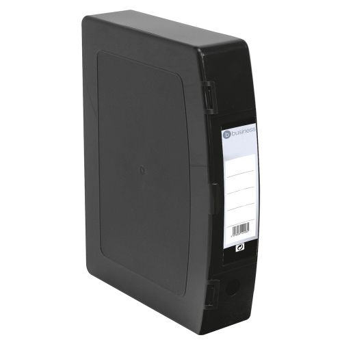 Business Box File Polypropylene with Twin Clip Lock Foolscap Black