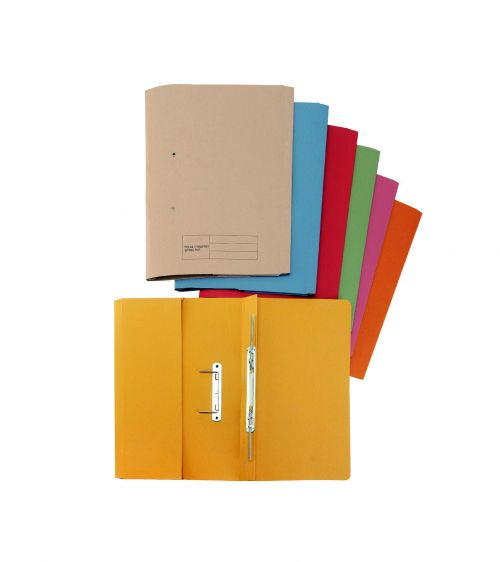 Business Premium Transfer Spring Pocket File Heavyweight 315gsm Capacity 38mm Foolscap Yellow [Pack 25]