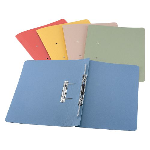 Business Premium Transfer Spring File Heavyweight 380gsm Capacity 38mm Foolscap Blue [Pack 25]