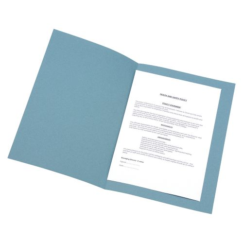 Business Square Cut Folder Recycled Pre-punched 250gsm Foolscap Blue [Pack 100]