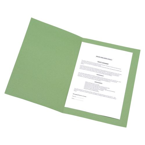 Business Square Cut Folder Recycled Pre-punched 250gsm Foolscap Green [Pack 100]