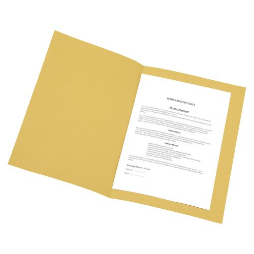 Business Square Cut Folder Recycled Pre-punched 250gsm Foolscap Yellow [Pack 100]