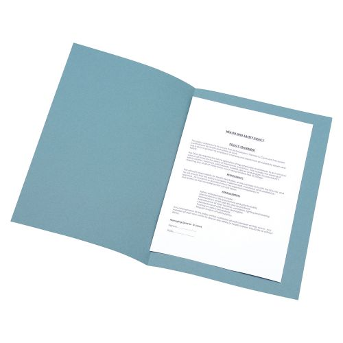 Business Square Cut Folder Recycled Pre-punched 180gsm Foolscap Blue [Pack 100]