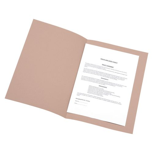 Business Square Cut Folder Recycled Pre-punched 180gsm Foolscap Buff [Pack 100]