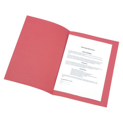 Business Square Cut Folder Recycled Pre-punched 180gsm Foolscap Red [Pack 100]