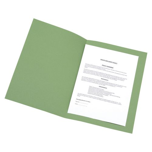 Business Square Cut Folder Recycled Pre-punched 180gsm Foolscap Green [Pack 100]