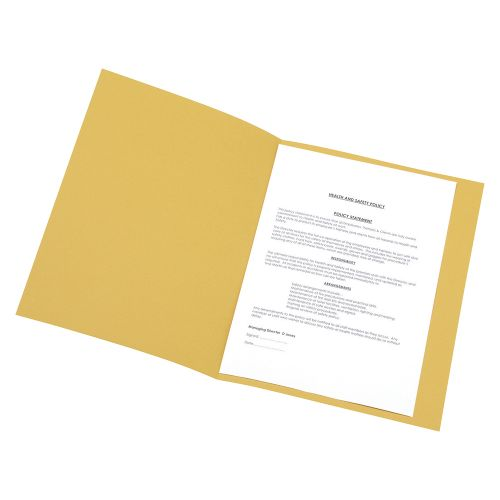 Business Square Cut Folder Recycled Pre-punched 250gsm A4 Yellow [Pack 100]