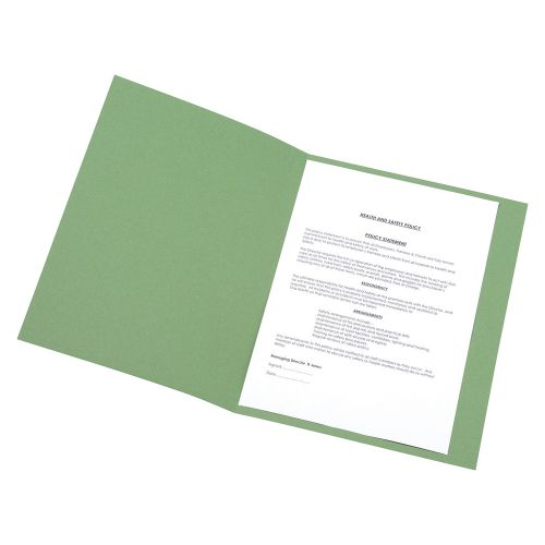 Business Square Cut Folder Recycled Pre-punched 250gsm A4 Green [Pack 100]