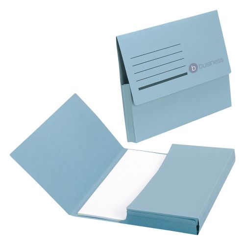 Business Document Wallet Half Flap 285gsm Recycled Capacity 32mm Foolscap Blue [Pack 50]
