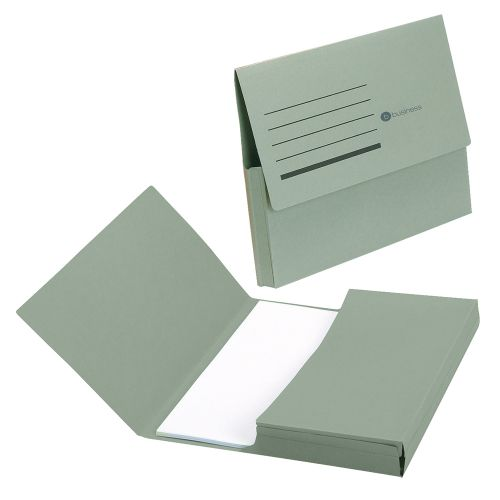 Business Document Wallet Half Flap 285gsm Recycled Capacity 32mm Foolscap Green [Pack 50]