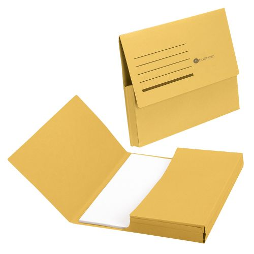 Business Document Wallet Half Flap 285gsm Recycled Capacity 32mm Foolscap Yellow [Pack 50]