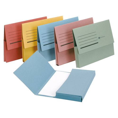 Business Document Wallet Half Flap 285gsm Recycled Capacity 32mm Foolscap Red [Pack 50]