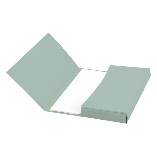 Business Document Wallet Half Flap 285gsm Recycled Capacity 32mm A4 Green [Pack 50]