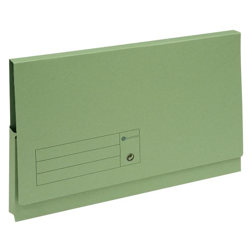 Business Document Wallet Full Flap 285gsm Recycled Capacity 32mm Foolscap Green [Pack 50]