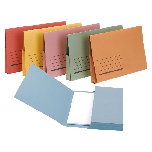 Business Document Wallet Full Flap 285gsm Recycled Capacity 32mm Foolscap Red [Pack 50]
