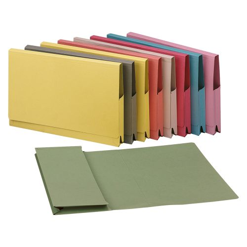 Business Premium Document Wallet Full Flap 315gsm Capacity 35mm Foolscap Green [Pack 50]