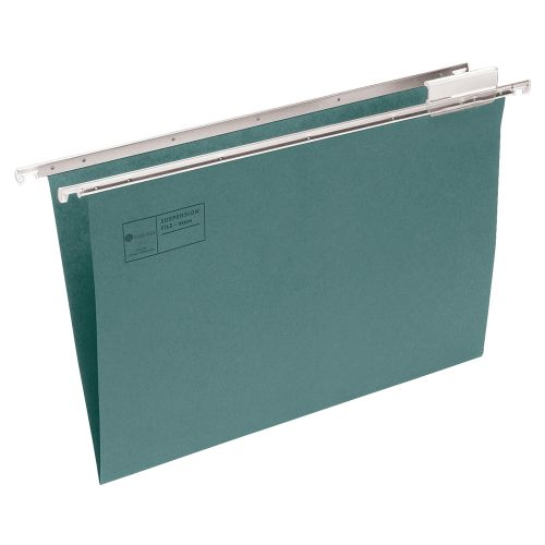 Business Suspension File Manilla with Tabs and Inserts Foolscap Green [Pack 50]
