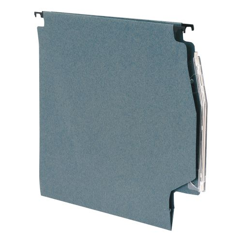 Business Lateral File Manilla with Clear Tabs and Inserts W275mm Green [Pack 50]