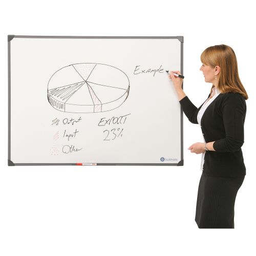 Business Drywipe Board Lightweight with Fixing Kit and Detachable Pen Tray W600xH450mm