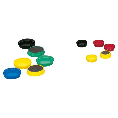 Business Round Plastic Covered Magnets 25mm Assorted [Pack 10]