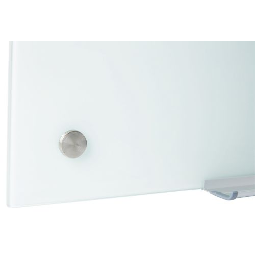 Business Glass Board Magnetic with Wall Fixings W1500xH1000mm White